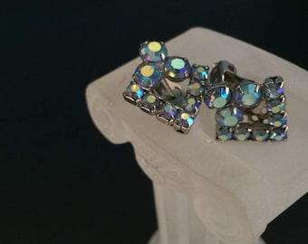 Aurora borealis earrings Blue AB diamond arrow shaped MCM clip on earrings jewelry bargain 1950s 1960s