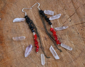 Coral and black onyx earrings with copper chain FREE SHIPPING