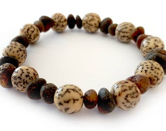 Raw NATURAL BALTIC AMBER Dark Adult Bracelet with Nut Beads