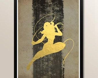 Vintage Wonder Woman Gold Foil Minimalist Art Print