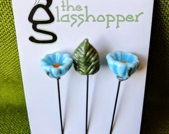 Lampwork Glass Flower Counting Pins/Stitch Markers/Fairy Garden Flowers - Sky Blue