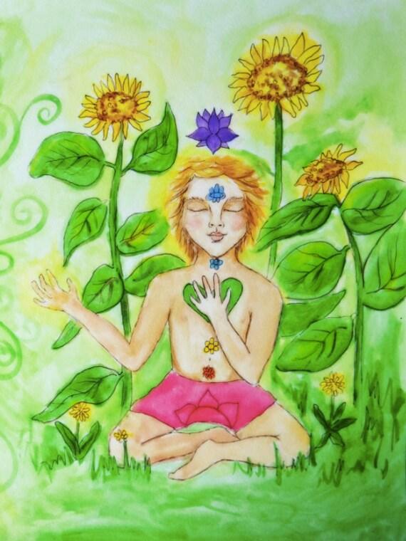 My body is a Rainbow ART PRINT green heart chakra children's illustration yoga by rachael rose zoller