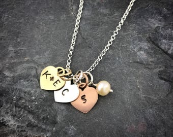 Sterling Gold Heart Initial Necklace - Mother's Necklace - Initial Necklace - Tri Colored Necklace - Mother's Day Gift - Mother's Jewelry