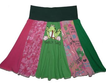 Upcycled Skirt Girls Size 8 10 Hippie Skirt Twirly Skirt Circle Skirt recycled t-shirt clothing Twinkle Skirts Twinklewear