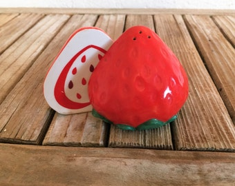 Vintage Set of Matte Strawberry Salt and Pepper Shakers