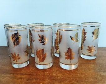 7 Vintage Glasses in Gold Leaf Pattern