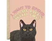 Long Distance Card- Black cat greeting card, i love you card, i miss you card, black cat greeting card, love card, black cat illustration,