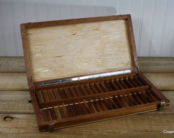 Wooden Storage Box - Vintage - Small Compartments - Supply Box - Storage - Container