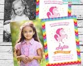 Rainbow Unicorn Photo Invitation plus Thank You Note