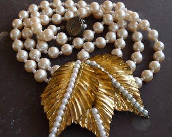 Vintage Miriam Haskell Pearl Necklace, Metallic Leaves, Seed Pearls