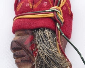 Vintage American Indian Pin with Felt Headdress War Paint Antique Americana Folk Art Native Jewelry