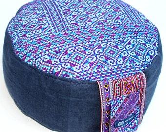 Purple Blue Cushion Meditation Yoga FloorCushion - Zafu Pillow Handmade and Unique from Germany