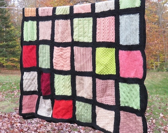 Vintage crochet afghan throw blanket with multicolored squares - Knitted rectangular afghan 62 x 40 in