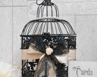 READY TO SHIP / Small Black and Pearls Wedding Birdcage Card Holder / Wedding Card Box / Pearl Wedding Decor / Elegant Wedding Decor