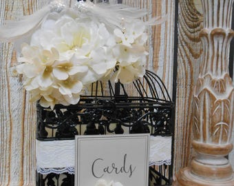 READY TO SHIP / Black White and Ivory Wedding Birdcage Card Holder / Wedding Card Box / Bride and Groom Wedding Card Box / Wedding Decor