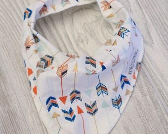Cowl style bandana bib arrows on white