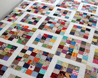Twin Quilt, Full Bed Quilt, Dorm Bedding, Quilted Blanket, Queen Bed Topper, Postage Stamp Quilt,  Patchwork Quilt, OOAK, Quiltsy Handmade