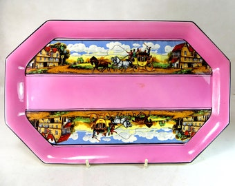 Art Deco Dressing Table Tray, Large Rose Pink Gibsons Dickens Days Coaching Inn Ladies Ceramic Make-Up Vanity Tray 1940s