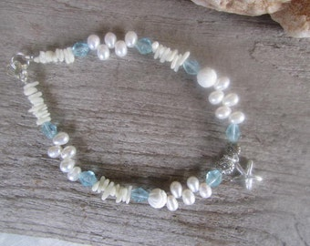 beach wedding anklet, starfish anklet, white pearls and white coral, with ocean blue glass, made in Hawaii