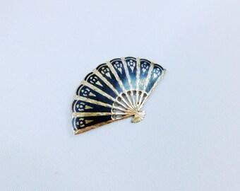 Vintage  Siam Silver Niello Fan  brooch