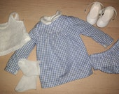Vintage Sasha Doll Complete Blue Gingham Dress Outfit With Shoes Socks Factory Original