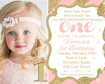 Pink and Gold Valentine Birthday Invitation, 1st Birthday Valentines Day Party, Valentine Invite Printable Birthday Party