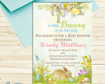 Bunny Baby Shower Invitation, Easter Baby Shower Invitation, Rabbit Baby Shower, Bunny Invite, Spring Baby Shower, Boy or Girl Baby Shower