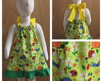 Bugs and Flowers Cotton Toddler Sundress, size 18 months