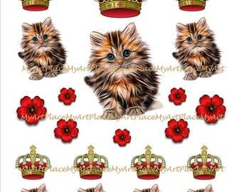 Cat Collage Sheets, Digital Download Kitten, Clip Art Cat, Cute Kitty, Printable Kitten, Cat Artwork, Scrapbooking Kitten, Sweet Cat, Kitty