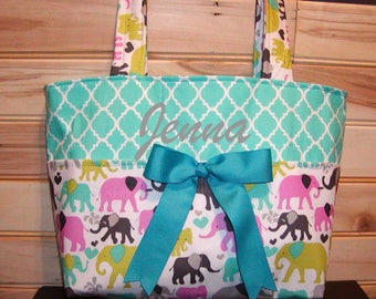 Diaper bag, handbag, purse, book..Elephants N Teal Quatrefoil..with Name. Bow on request..Match your carseat canopy(see fashionfairytales).
