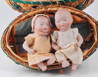 "Bisque Bye Lo Babies Pair - 4"" Grace Putnam copr Germany in Wicker Egg Basket"