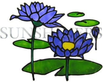 Water lilies flower Suncatcher window sticker/decal stained glass style Sunshiner