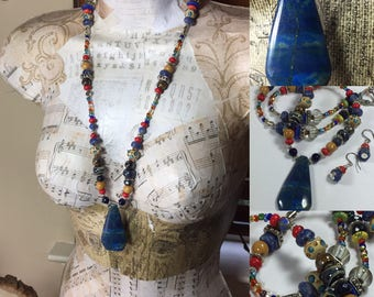 Sundance Inpired Necklace, Bohemian Necklace, Long Beaded Necklace, Beaded Gemstone Necklace, Southwestern, Western, Chunky Cowgirl Necklace