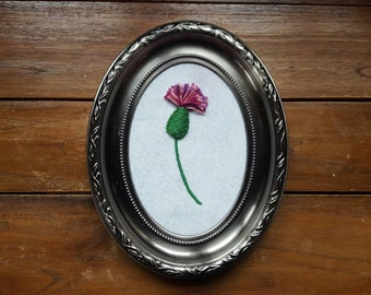 Framed Thistle 3d hand embroidery