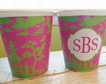 Personalized or Plain Pink and Green Chinoiserie Hot/Cold Paper Party Cups - Set of 12