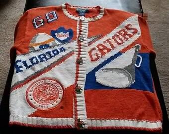 Vintage Women's Sweater Eagle's Eye UF University of Florida Gator SZ Medium Orange Blue