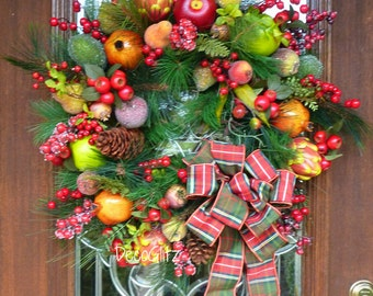 WILLIAMSBURG FRUIT Christmas Wreath with PLAID Bow