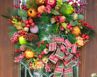 WILLIAMSBURG FRUIT Christmas Wreath with PLAID Bow