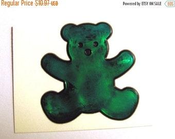ON SALE Rare Vintage Sandylion Magi-cals Oilie Liquid Teddy Bear Sticker - 80's Oily Teal Green
