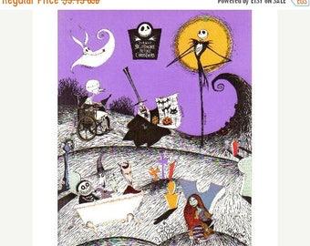 SALE Nightmare Before Christmas Vintage Sticker Sheet Tim Burton - Cartoon Animation Illustration 1993 Movie Scrapbook Collage