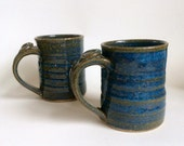 Pottery Coffee Mug, Handmade Blue Ceramic Mug with Thumb Rest, laurenbauschoriginal
