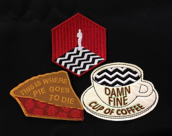 Twin Peaks Pie and Coffee Patch Set / Embroidered Patch / Badge / Damn Fine Cup of Coffee / Cherry Pie / Black Lodge