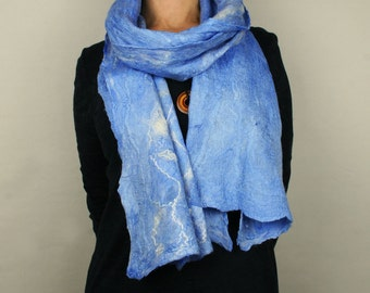 Cerulean wool and silk scarf - Blue Sky Nunofelted Scarf - Handcrafted scarf in blue - Shades of Blue Scarf - Sky Blue textured scarf