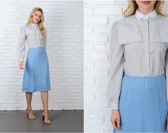 Vintage 80s Beige + Blue Striped Dress Shirtdress Color block Medium M 9017