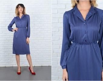 Vintage 80s Navy Blue Dress retro Pinstripe Striped White Small S 9256