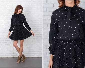Vintage 70s Black Mini Dress Mod White Polka Dot Print Pleated Medium 9464