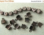 SALE 32-34PP (4.1-4.3mm) Crimp Ends for Rhinestone Chain Oxidized Brass Findings New (12)