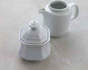 White Sugar Creamer Set, Flea Market China, Minimal Design German Porcelain Dish, Farmhouse Kitchen Bavaria Antiques Milk Pitcher Sugar Bowl