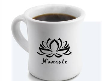 Namaste Lotus Vinyl Decal for Mugs Tumblers Cups Pick Your Size and Color Yoga Decal