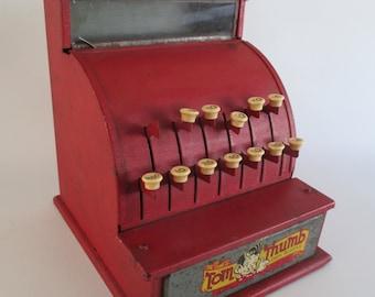 Tom Thumb Cash Register, Vintage Toy, Metal, Mid Century, Pretend Play, Playroom Nursery Decor, Sales Photo Display Prop, Made In USA